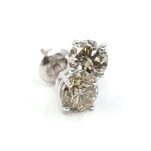 2.18 Carat Diamonds Earrings Tiffany Style Set in